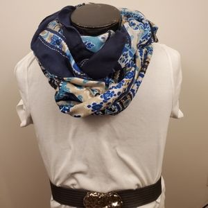 Blue and beige paisley print infinity scarf